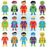 Sistema de super héroes del muchacho en formato del vector Fotografía de archivo libre de regalías