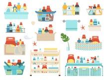 Sistema de sustancias químicas de hogar, de champúes y de productos de higiene para el cuarto de baño en cestas ilustración del vector