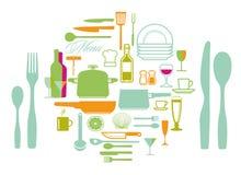 Sistema de synbols y de iconos del utensilio de la cocina Foto de archivo