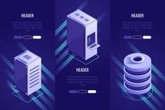 Sistema de 3 títulos conceptuales Almacenamiento y web hosting de datos Concepto computacional de la nube estilo isométrico 3D stock de ilustración