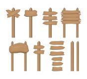 Sistema de tableros de madera y de flechas de la muestra de la historieta aislados en blanco Vector Foto de archivo