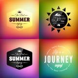 Sistema de tarjeta caligráfico diseñado retro del diseño del verano Fotografía de archivo libre de regalías