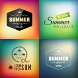 Sistema de tarjeta caligráfico diseñado retro del diseño del verano Fotos de archivo libres de regalías