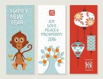 Sistema de tarjeta chino de la etiqueta del mono del Año Nuevo 2016 lindo