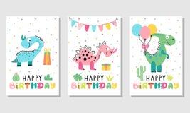 Sistema De Tarjeta De Cumpleaños Con Los Dinosaurios Lindos