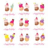 Sistema de tarjeta de cumpleaños Números festivos del dulce a partir del 51 a 59 Paja de Coctail Caracteres decorativos divertido Fotos de archivo