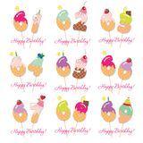 Sistema de tarjeta de cumpleaños Números festivos del dulce a partir del 61 a 69 Paja de Coctail Caracteres decorativos divertido Foto de archivo