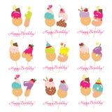 Sistema de tarjeta de cumpleaños Números festivos del dulce a partir del 81 a 89 Paja de Coctail Caracteres decorativos divertido Fotografía de archivo