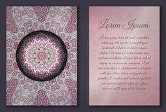 Sistema de tarjeta de la invitación con el ornamento de la mandala Imagenes de archivo