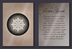 Sistema de tarjeta de la invitación con el ornamento de la mandala Fotos de archivo