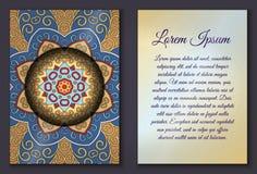 Sistema de tarjeta de la invitación con el ornamento de la mandala Fotografía de archivo libre de regalías