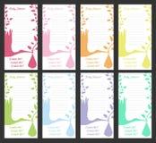 Sistema de tarjeta de la invitación de 8 fiestas de bienvenida al bebé Fotos de archivo libres de regalías