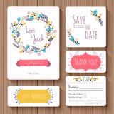 Sistema de tarjeta de la invitación de la boda Gracias cardar, ahorre las tarjetas de fecha Foto de archivo