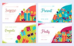 Sistema de tarjeta del folleto informativo del regalo La plantilla infographic de flyear, bandera de la web, jefe de la caja del  libre illustration