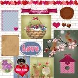 Sistema de tarjeta del libro de recuerdos con los elementos del día de tarjetas del día de San Valentín en blanco Fotos de archivo