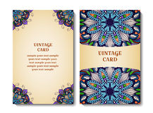 Sistema de tarjeta del vector Modelo ornamental redondo Imagenes de archivo