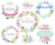 Sistema de tarjeta dibujado mano floral Foto de archivo libre de regalías