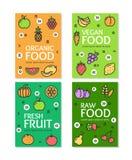 Sistema de tarjeta orgánico crudo de los carteles de la bandera del aviador de la comida del vegano de la fruta fresca Vector Fotografía de archivo libre de regalías