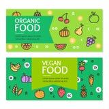 Sistema de tarjeta orgánico de los carteles de la bandera del aviador de la comida del vegano Vector Foto de archivo libre de regalías