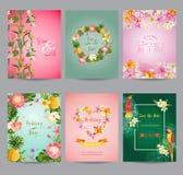 Sistema de tarjeta tropical de las flores ilustración del vector