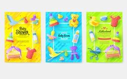 Sistema de tarjetas de amamantamiento de información de la semana embroma la plantilla de los elementos del aviador, revistas, ca libre illustration