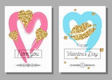 Sistema de tarjetas artístico creativo del día del ` s de la tarjeta del día de San Valentín Ilustración del vector Foto de archivo libre de regalías