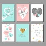 Sistema de tarjetas artístico creativo del día del ` s de la tarjeta del día de San Valentín Ilustración del vector libre illustration
