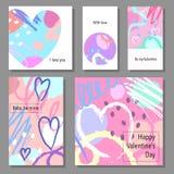 Sistema de tarjetas artístico creativo del día del ` s de la tarjeta del día de San Valentín Ilustración del vector Fotografía de archivo