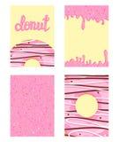 Sistema de tarjetas brillantes de la comida Sistema de anillos de espuma con el esmalte rosado Modelo del buñuelo, fondo, tarjeta imagen de archivo libre de regalías