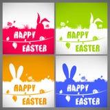 Sistema de tarjetas colorido feliz del ejemplo del vector de pascua con las siluetas de orejas grandes de los conejos en el prado Fotos de archivo libres de regalías