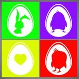 Sistema de tarjetas colorido feliz del ejemplo del vector de pascua con las siluetas del conejo, del pollo y del corazón en huevo stock de ilustración