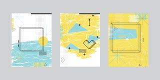 Sistema de tarjetas con diseño geométrico abstracto stock de ilustración
