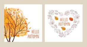 Sistema de tarjetas con los árboles del otoño Imágenes de archivo libres de regalías