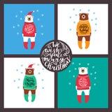 Sistema de tarjetas con los osos Navidad Fotos de archivo