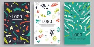 Sistema de tarjetas creativas artísticas con formas y texturas Plantillas universales para la invitación flayers creativos, abstr ilustración del vector