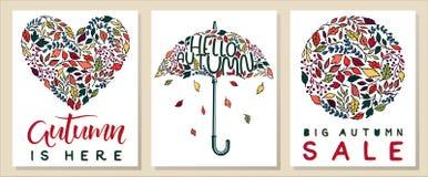 Sistema de tarjetas creativas del otoño Imagenes de archivo