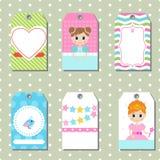 Sistema de tarjetas creativas lindas con diseño del tema de la princesa Imagen de archivo