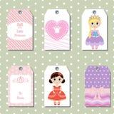 Sistema de tarjetas creativas lindas con diseño del tema de la princesa Fotos de archivo