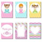 Sistema de tarjetas creativas lindas con diseño del tema de la princesa Imagen de archivo libre de regalías