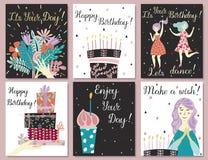 Sistema de tarjetas de cumpleaños stock de ilustración