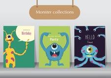 Sistema de tarjetas de cumpleaños, cartel, plantilla, tarjetas de felicitación, animales, monstruo, ejemplos del vector stock de ilustración