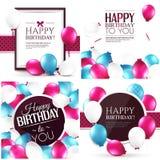 Sistema de tarjetas de cumpleaños coloridas Fotografía de archivo
