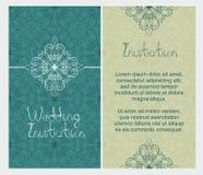 Sistema de tarjetas de felicitación antiguas, invitación con los ornamentos elegantes ilustración del vector