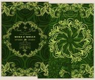 sistema de tarjetas de felicitación con la flor Excepto la fecha Letras elegantes para los saludos Imagen de archivo libre de regalías