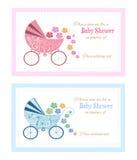 Sistema de tarjetas de felicitación de la fiesta de bienvenida al bebé Fotografía de archivo libre de regalías