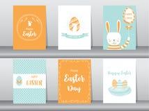 Sistema de tarjetas de felicitación de Pascua, plantilla, conejos, huevos, ejemplos del vector