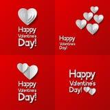 Sistema de tarjetas de felicitación del día de tarjetas del día de San Valentín Imagen de archivo libre de regalías