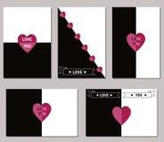 Sistema de tarjetas de felicitación del día de tarjetas del día de San Valentín Fotografía de archivo libre de regalías