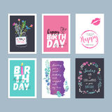 Sistema de tarjetas de felicitación dibujadas mano del cumpleaños de la acuarela ilustración del vector