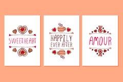 Sistema de tarjetas de felicitación dibujadas mano del día de tarjetas del día de San Valentín del santo ilustración del vector